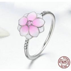 Rhinestone Sterling Silver Flower Ring