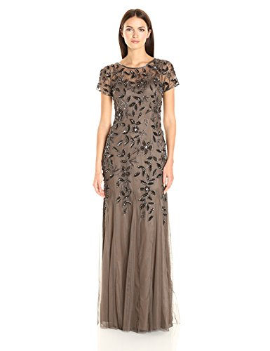 Adrianna Papell Women's Floral Beaded Godet Gown, Lead, 10