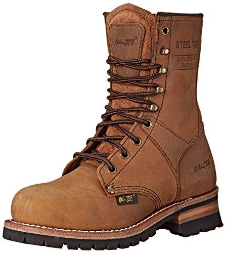 Adtec Women's Work Boots 9″ Steel Toe Logger, Brown, 7 M US
