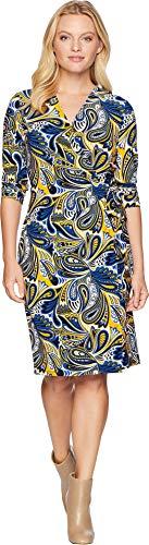Anne Klein Women's Classic V-Neck Faux Wrap Dress, Cezanne Blue/Yellow Combo, XL