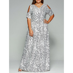 Faux Wrap Cold Shoulder Maxi Dress