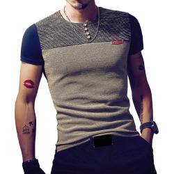Men'S Casual Patchwork Short Sleeve T Shirt Casual Slim Fit Hip-Hop Top Tees