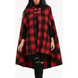 Plaid Hooded Cape Coat