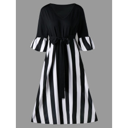 Plus Size Striped Tie Belt Tea Length Dress