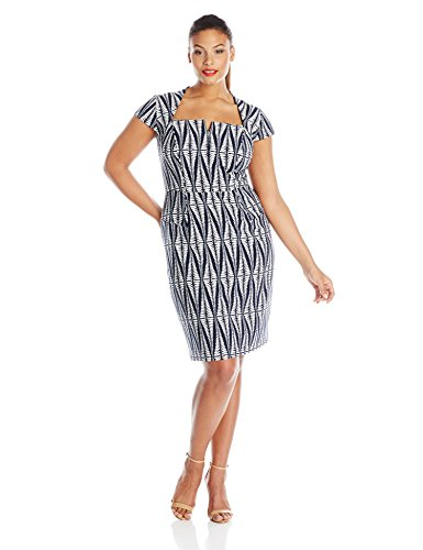 Adrianna Papell Women's Plus-Size Cap Sleeve Tribal Printed Sheath Dress, Navy, 22