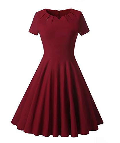 BEJG Women's 2017 Short Cap Sleeves Casual Dresses Swing Party Cocktail Dresses S-XXL in Red