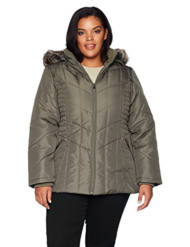 Details Women's Plus Size Puffer Coat with Braided Rouched Side, Fog, 2X