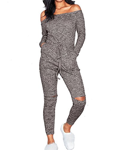 IyMoo Womens Sexy Elegant Off Shoulder Bodycon Party Club Jumpsuit Gray Large