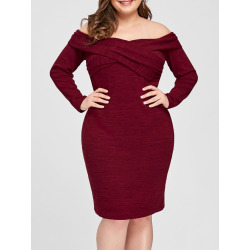 Plus Size Off Shoulder Bodycon Dress
