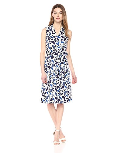 Anne Klein Women's Cotton Notch-Collar Wrap-Front Self-Belted Dress with Full Skirt, Monaco Combo, 14