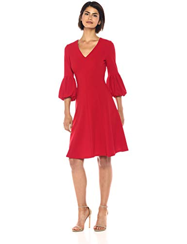 Calvin Klein Women's Solid a-Line Dress with Three Quarter Blouson Sleeve, Red, 12