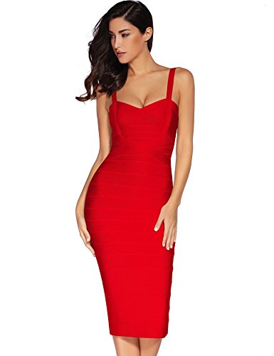 Meilun Women's Strap Midi Bandage Dress Length Party Solid Prom Bodycon Dress (S, Red1)