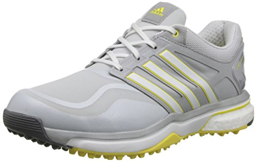 adidas Women's W Adipower S Boost Golf Shoe, Clear Grey/Running White/Light Yellow, 7 M US