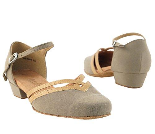 Very Fine Ladies Women Ballroom Dance Shoes EK8881 Brown Nubuck & Beige Brown Trim 1″ Heel (9.5M)