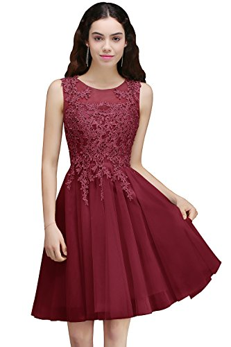 Women's Sleeveless Tulle Appliques Short Evening Cocktail Gowns (Burgundy,6)