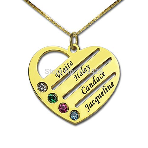 Engraved Mom Necklace w/Swarovski Birthstones – Personalized Heart Pendant- Gift Jewelry for Mom (Gold 16)