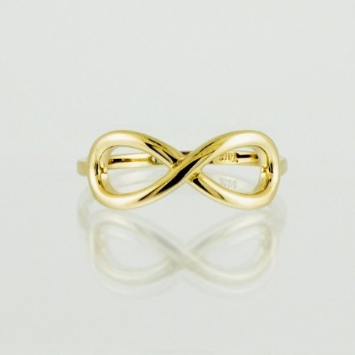 10k Yellow Gold Infinity Ring in Elegant Polished Finish (6.75)