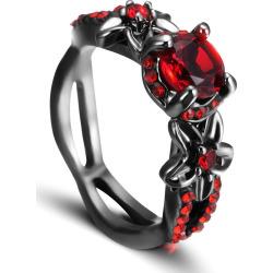 Red Zircon Black Gold Ring