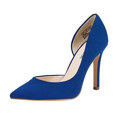 JENN ARDOR Stiletto High Heel Shoes for Women: Pointed, Closed Toe Classic Slip On Dress Pumps-Blue