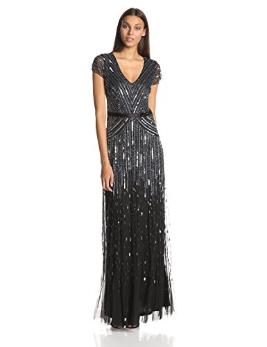 Adrianna Papell Women's Long Beaded V-Neck Dress With Cap Sleeves and Waistband, Gunmetal, 8