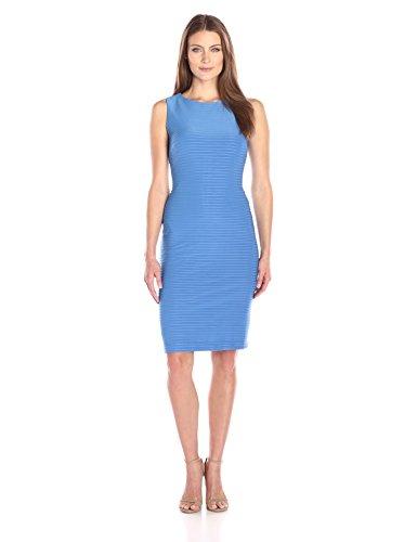 Julian Taylor Women's Sheath Pinktuck Sleeveless Dress, Periwinkle, 16