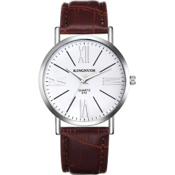 Fashion Quartz Stainless Steel Watch Waterproof with Leather Strap