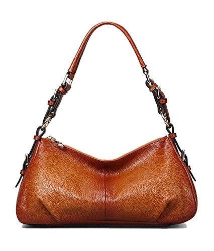 Kattee Ladies' Vintage Leather Hobo Shoulder Handbag Sorrel