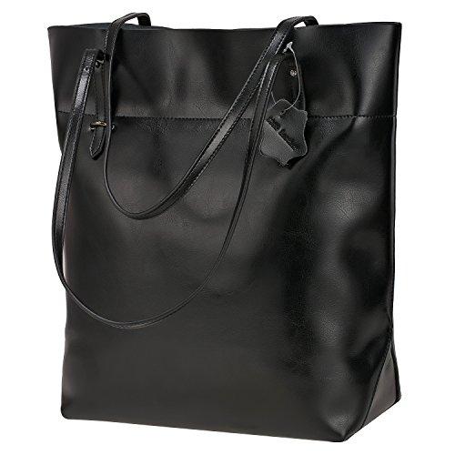 S-ZONE Vintage Genuine Split Leather Tote Shoulder Bag Handbag Big Large Capacity Black