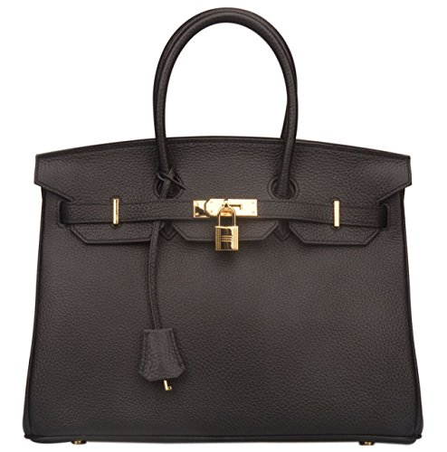 Ainifeel Women's Genuine Leather Padlock Handbags With Gold Hardware (35 cm, Black with hotpink lining stitched black)