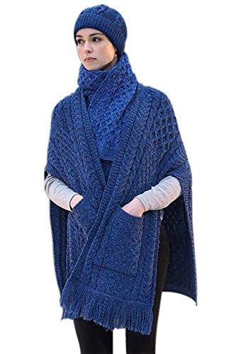 West End Knitwear 100% Irish Merino Wool Ladies Pocket Shawl