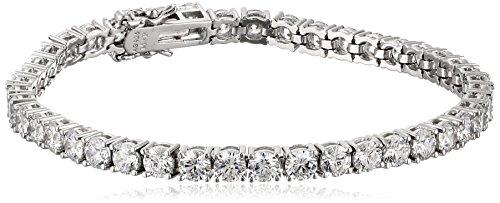 Platinum Plated Sterling Silver Tennis Bracelet set with Round Cut Swarovski Zirconia (16.77 cttw), 7.25″