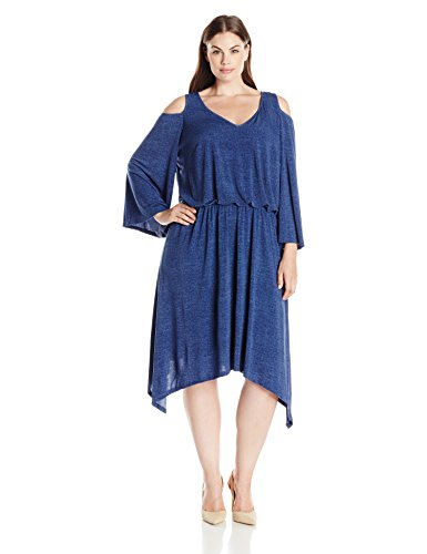 London Times Women's Plus Size Cold Shoulder V Neck Jersey Blouson Dress, Denim, 14W