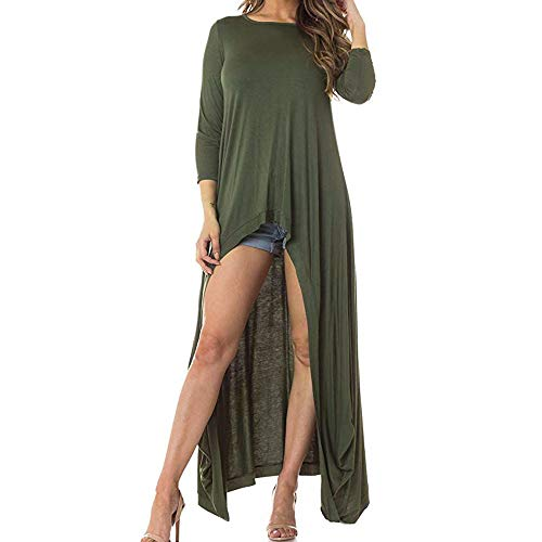 Limsea 2018 Women Irregular Plus Size O Neck Long Shirt Three Quarter Sleeve Tunic Top Blouse(Green,Small)