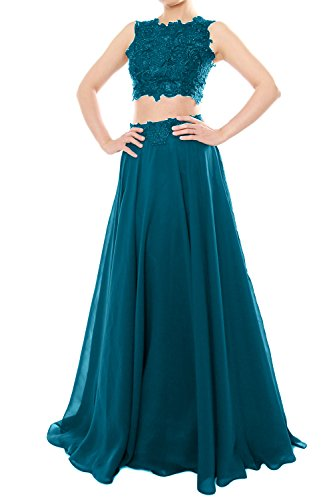 MACloth Women Two Piece High Neck Lace Chiffon Long Prom Dress Formal Party Gown (US2, Teal)