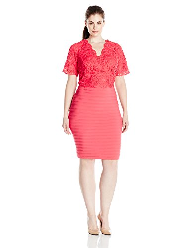 Adrianna Papell Women's Plus Size Banded and Lace Vneck Sheath, Coral, 16W