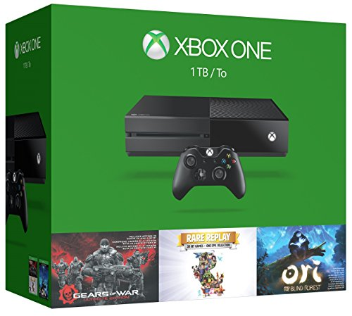 Xbox One 1TB Console – 3 Games Holiday Bundle (Gears of War: Ultimate Edition + Rare Replay + Ori and the Blind Forest)
