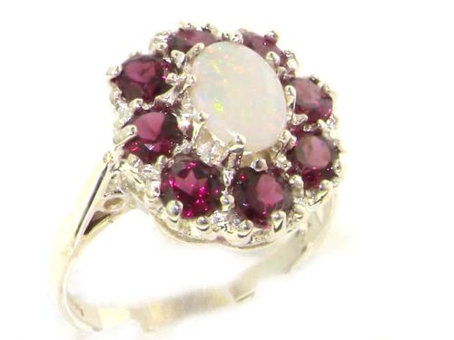 925 Sterling Silver Real Genuine Opal and Garnet Womens Band Ring – Size 7