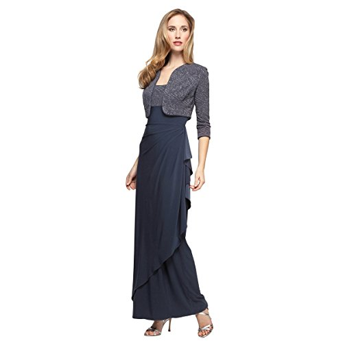 Alex Evenings Women's Petite Long Side Ruched Dress with Bolero Jacket, Smoke, 6P