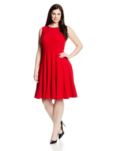 Calvin Klein Women's Plus-Size Sleeveless Solid Flare Dress, Red, 18W