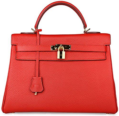 Cherish Kiss Women's Genuine Leather Tote Bag Cross Body Shoulder Padlock Handbags (32CM, Red)