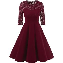 A Line Vintage Formal Lace Trim Dress