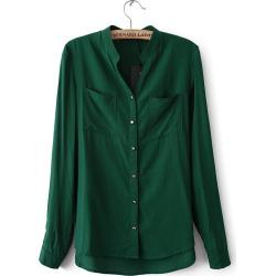 Women Fashion V-Neck Metal Button Long-Sleeved Boyfriend Shirt