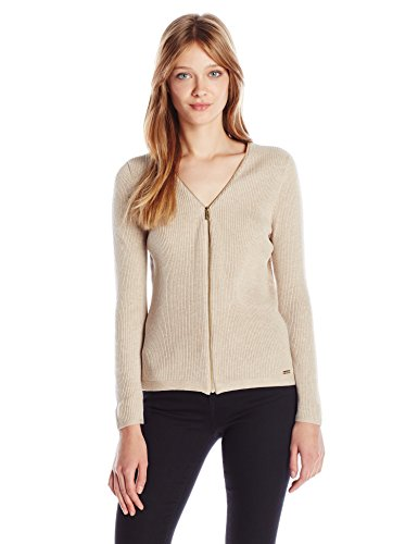 Calvin Klein Women's Ribbed Zipper-Front Cardigan Sweater, Heather Latte, M
