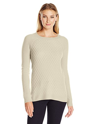 Lark & Ro Women's 100% Cashmere Soft Lattice Stitch Sweater, Snow, Small