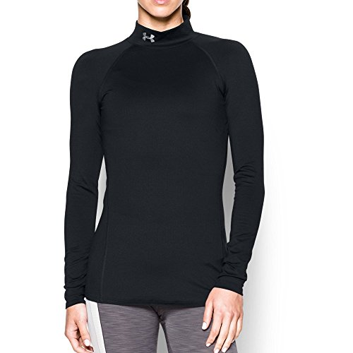 Under Armour Women's ColdGear Infrared EVO Mock Long Sleeve, Black/Elemental, Large