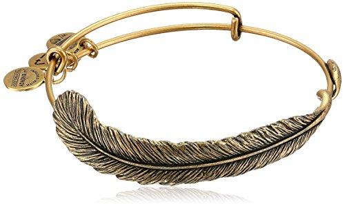 "Alex and Ani Spiritual Armor ""Plume"" Rafaelian Gold-Tone Bangle Bracelet, 7.75″"