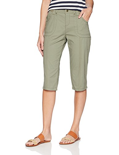LEE Women's Relaxed Fit Lyric Knit Waist Cargo Capri Pant, Mermaid, 14