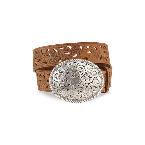 Tony Lama Women's Floral Cutout Leather Belt Brown 34