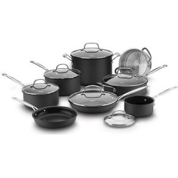 Cuisinart Chef's Classic Nonstick Hard Anodized 14 Piece Cookware Set w/cover – 66-14N, Black
