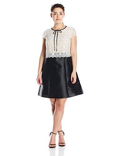 ABS by Allen Schwartz Women's Plus-Size Short Sleeve Lace and Tafetta Dress, Black/Ivory, 22W